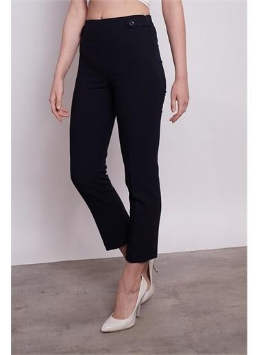 Jument Yüksek Bel Önü Dikişli Beli Apoletli Düğmeli Boru Paça Pantolon -Taş Lacivert